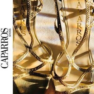 Rhinestone Strappy Heels👡 Gold Caparros